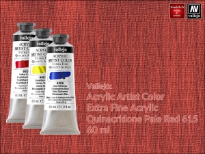 Farba akrylowa Vallejo Acrylic Artist Color, kolor: Quinacridone Red Pale 615, tuba 60 ml
