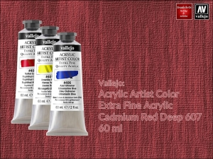 Farba akrylowa Vallejo Acrylic Artist Color, kolor: Cadmium Red Deep 607, tuba 60 ml