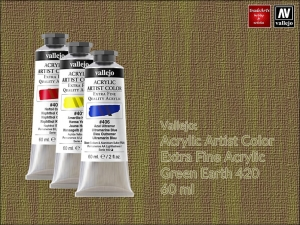 Farba akrylowa Vallejo Acrylic Artist Color, kolor: Earth Green 420, tuba 60 ml