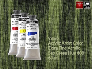 Farba akrylowa Vallejo Acrylic Artist Color, kolor: Sap Green 408, tuba 60 ml