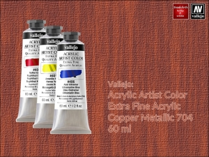 Farba akrylowa metaliczna Vallejo Acrylic Artist Color, kolor: Copper 704, tuba 60 ml