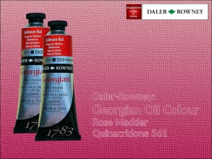 Farba olejna Georgian Oil Colour Daler-Rowney, kolor: Rose Madder Quinacridone 561, tuba 75 ml