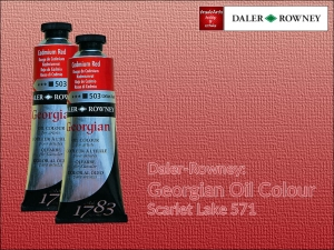 Farba olejna Georgian Oil Colour Daler-Rowney, kolor: Scarlet Lake 571, tuba 75 ml
