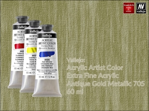 Farba akrylowa metaliczna Vallejo Acrylic Artist Color, kolor: Antique Gold 705, tuba 60 ml