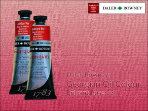 Farba olejna Georgian Oil Colour Daler-Rowney, kolor: Brilliant Rose 531, tuba 75 ml