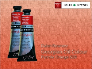 Farba olejna Georgian Oil Colour Daler-Rowney, kolor: Pyrrole Orange 628, tuba 75 ml