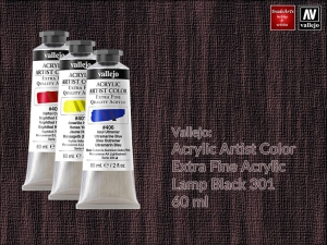 Farba akrylowa Vallejo Acrylic Artist Color, kolor: Lamp Black 301, tuba 60 ml