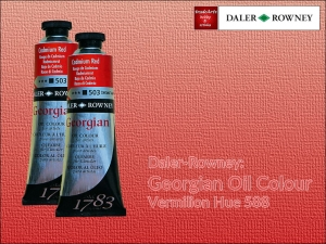 Farba olejna Georgian Oil Colour Daler-Rowney, kolor: Vermilion Hue 588, tuba 75 ml