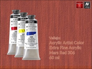 Farba akrylowa Vallejo Acrylic Artist Color, kolor: Mars Red 306, tuba 60 ml