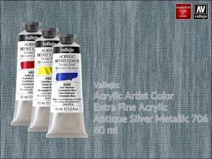 Farba akrylowa metaliczna Vallejo Acrylic Artist Color, kolor: Antique Silver 706, tuba 60 ml