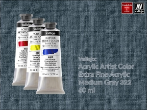 Farba akrylowa Vallejo Acrylic Artist Color, kolor: Medium Grey 322, tuba 60 ml