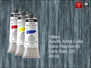Farba akrylowa Vallejo Acrylic Artist Color, kolor: Dark Grey 321, tuba 60 ml
