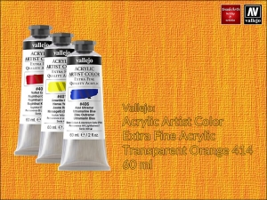 Farba akrylowa Vallejo Acrylic Artist Color, kolor: Transparent Orange 414, tuba 60 ml