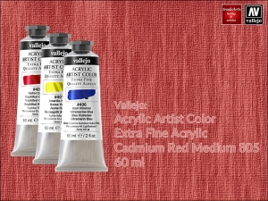 Farba akrylowa Vallejo Acrylic Artist Color, kolor: Cadmium Red Medium 805, tuba 60 ml