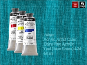 Farba akrylowa Vallejo Acrylic Artist Color, kolor: Teal (Blue-Green) 426, tuba 60 ml