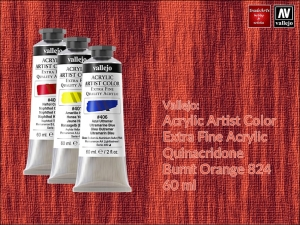 Farba akrylowa Vallejo Acrylic Artist Color, kolor: Quinacridone Burnt Orange 824, tuba 60 ml