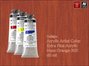 Farba akrylowa Vallejo Acrylic Artist Color, kolor: Mars Orange 305, tuba 60 ml