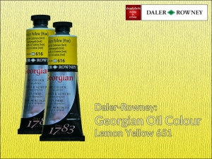 Farba olejna Georgian Oil Colour Daler-Rowney, kolor: Lemon Yellow 651, tuba 75 ml