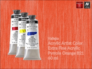 Farba akrylowa Vallejo Acrylic Artist Color, kolor: Pyrrole Orange 821, tuba 60 ml