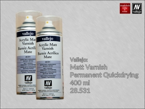 Werniks matowy w aerozolu do farb akrylowych Vallejo Acrylic Matt Varnish, opak. 400 ml