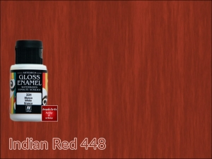 Farba kryjaca (emalia) błyszcząca do szkła i ceramiki Gloss Enamel Vallejo, kolor: Indian Red 448, opak. 35 ml