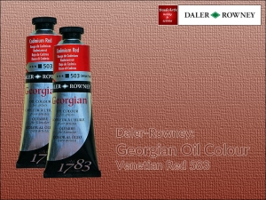 Farba olejna Georgian Oil Colour Daler-Rowney, kolor: Venetian Red 583, tuba 75 ml