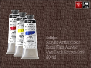 Farba akrylowa Vallejo Acrylic Artist Color, kolor: Van Dyck Brown 313, tuba 60 ml