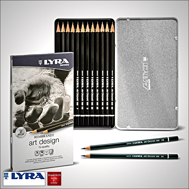 Ołówki grafitowe specjalne Lyra Rembrandt Art Design, kpl  12 szt ,  metalowa kaseta